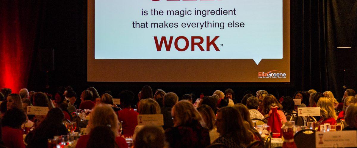 picture of sleep tip slide from motivational wellness speaker eliz greene stress program
